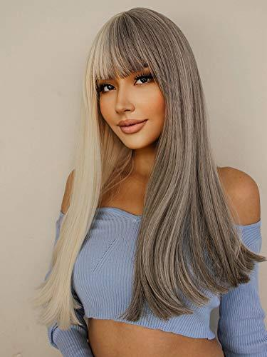 Wig - Long Straight Gray White Split Wig With Bangs
