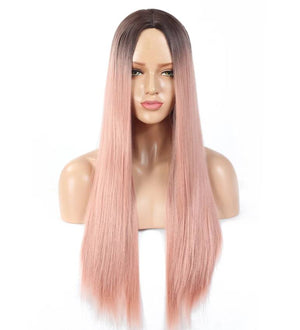 Wig - Lorilee Long Ash Pink & Orange Hair Wig