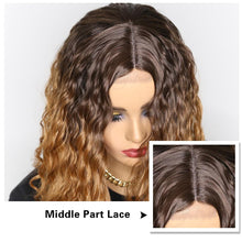 Load image into Gallery viewer, Wig - Lucia 26 Inch Lace Front Curly Middle Part Ombre Blonde Brown Wig