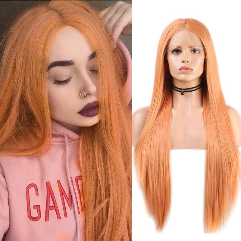 Wig - Peach Colored Silky Straight Lace Wig With Middle Part