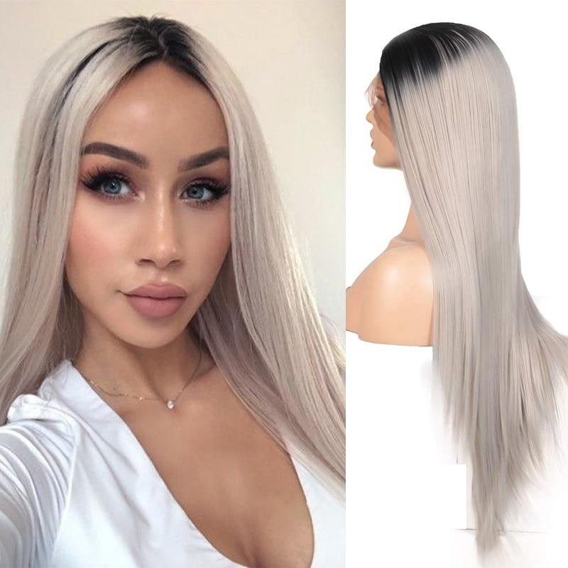 Wig - Two Tone Grey Synthetic Lace Front With Side Part