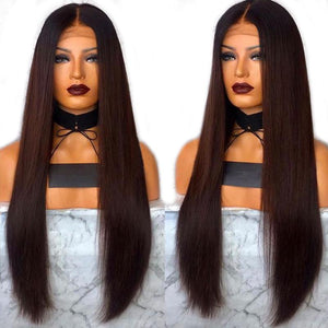 Wigs - Ombre Brown Synthetic Lace Front Wig High-Temperature Fiber