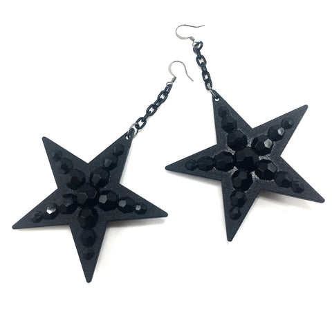 Black Stars Dangle Earrings