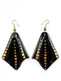 Black lucite rhinestone art deco earrings
