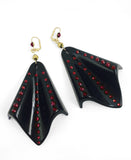 Black Lucite Art Deco earrings with swarovski rhinestones