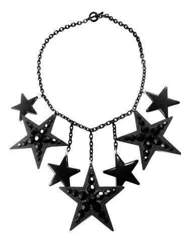 Black Stars Statement Necklace