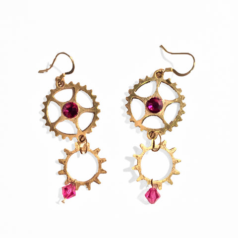 gold gear dangle earrings