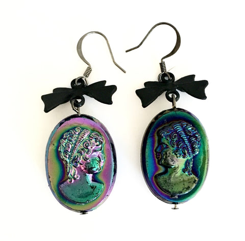 Black Victorian cameo earrings