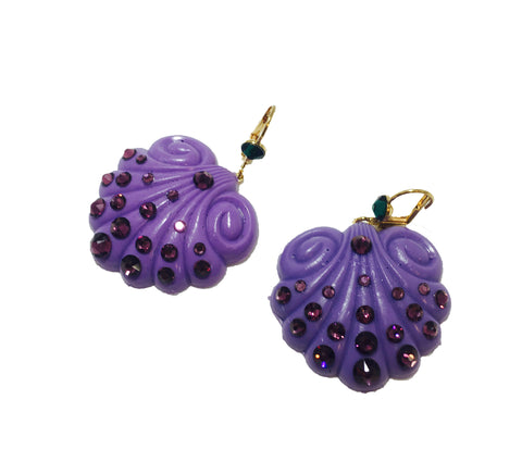 Little Mermaid Ariel purple shell earrings