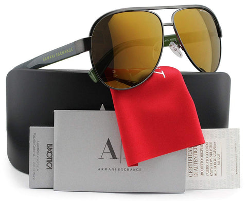 Armani Exchange AX2013S Aviator Sunglasses Matte Gunmetal w/Gold Mirror (6072/73) AX 2013S 607273 60mm Authentic