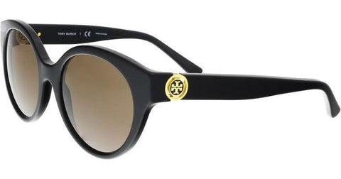 Tory Burch Women's TY7087 Sunglasses Black / Smoke Solid 52mm brown Lenses