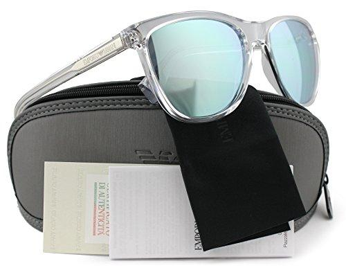 Emporio Armani EA4053 Sunglasses Transparent w/Blue/White Mirror (5371/6J) EA 4053 53716J 57mm Authentic