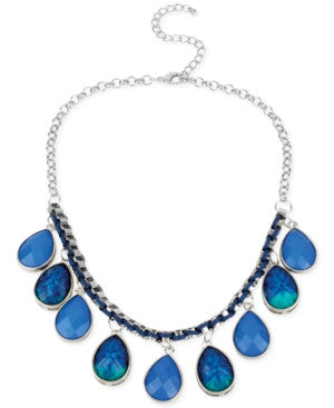 Haskell Silver-Tone Blue Teardrop Woven Frontal Necklace