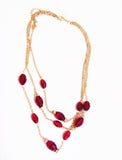 Charter Club Gold toned three row red bead necklace G518