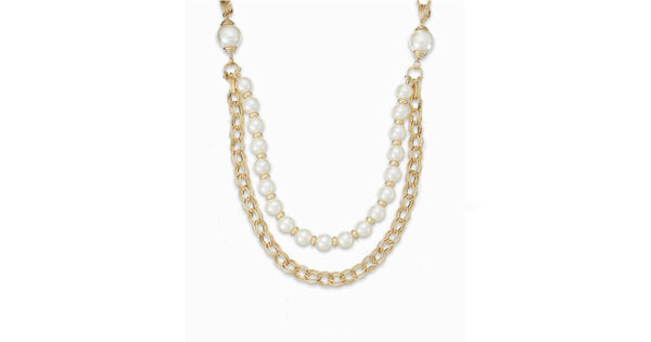 Ali Khan Imitation Pearl Two-Row Frontal Necklace