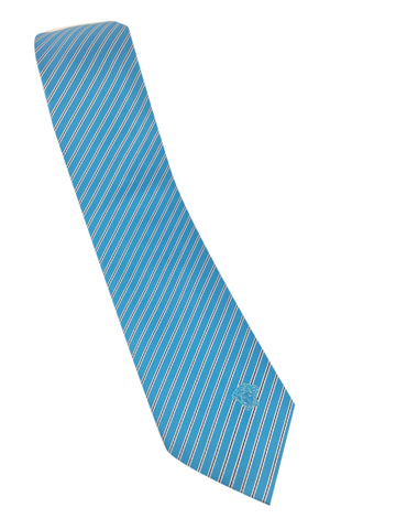 Versace regular 100% Silk Tie in striped pattern, light blue color