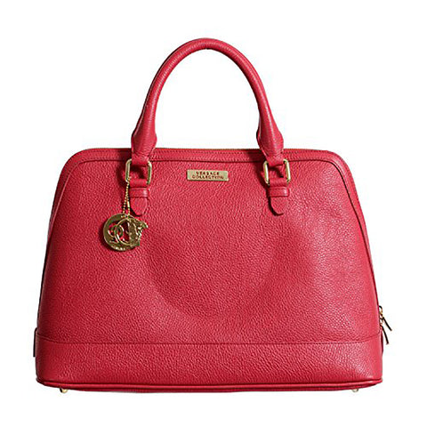 Versace Collection - Red Leather Satchel Handbag Bag