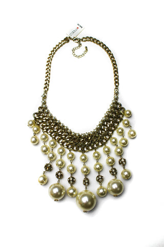 Stephan & Co Gold-Tone Faux Pearl Bib Necklace