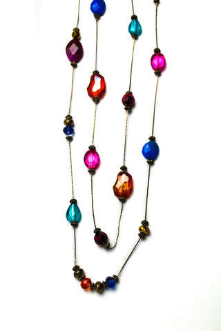 Style & co. Gold-Tone Brass Multicolor Glass Two-Row Long Necklace