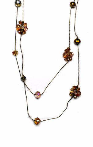 Style & co.  Gold-Tone Brass Multicolor Glass Rope Long Necklace
