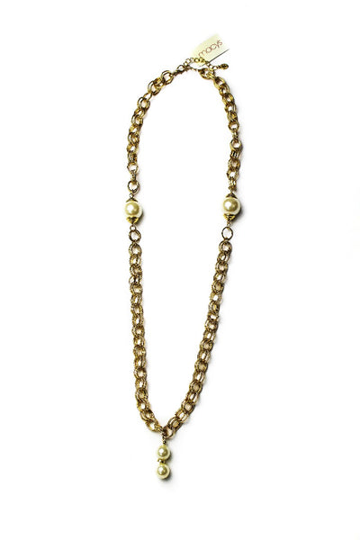 Ali Khan Faux Pearl Long Frontal Necklace