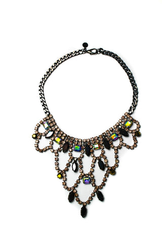 FOREVER 4VR Hematite-Tone Blush Princess Crystal Bib Necklace