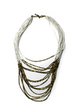 Mixit White and Bronze-Tone Long Necklace