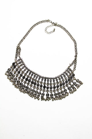Matte Silver toned fringe choker necklace