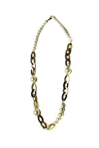 Ali Khan Faux Pearl Long Gold Tone Statement Necklace
