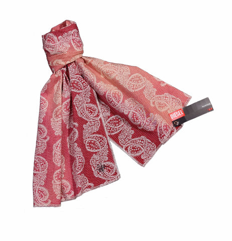 Diesel Red, Fading Red and White Printed Unisex Scarf