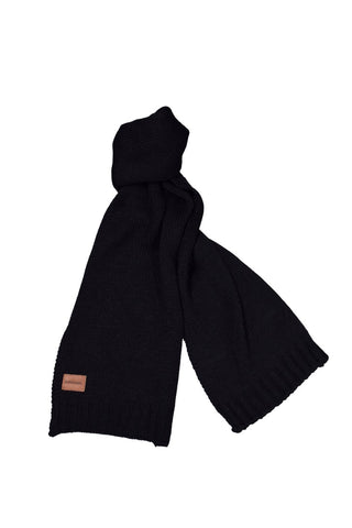 Diesel Unisex Black Thick Woven Knit Leather Logo Scarf