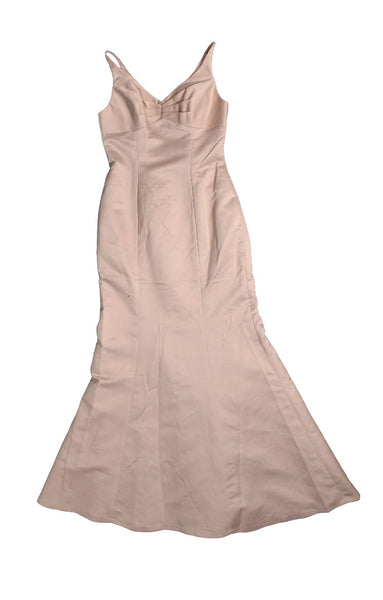 Saison Blanche Bridesmaid Beige Satin Sleeveless Dress