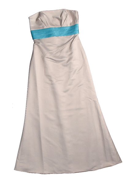 Eden Bridals Bridesmaid Oyster & Sea Blue Satin Strapless Dress