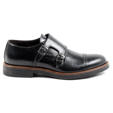 Andrew Charles Mens Monk Strap Shoe Black KURT