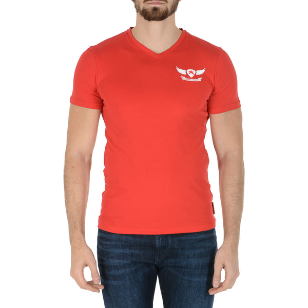 Andrew Charles Mens T-Shirt Short Sleeves V-Neck Red KENAN