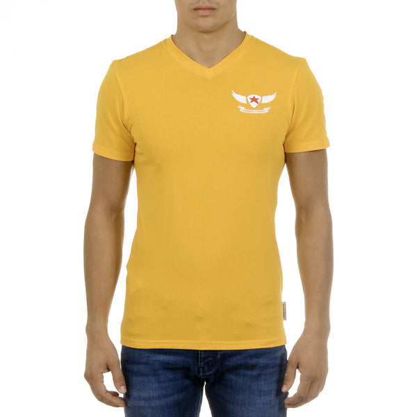 Andrew Charles Mens T-Shirt Short Sleeves V-Neck Yellow KENAN
