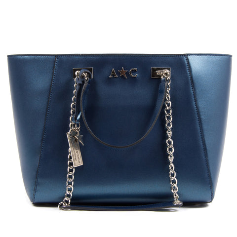 Andrew Charles Womens Handbag Blue KEY