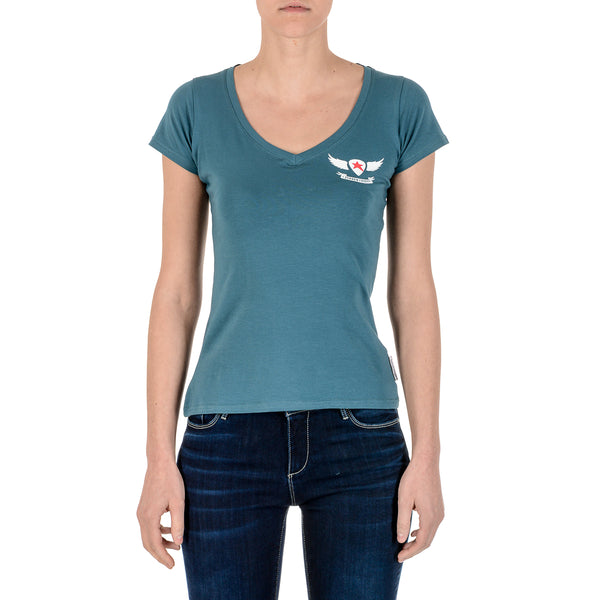 Andrew Charles Womens T-Shirt Short Sleeves V-Neck Green TAPIWA