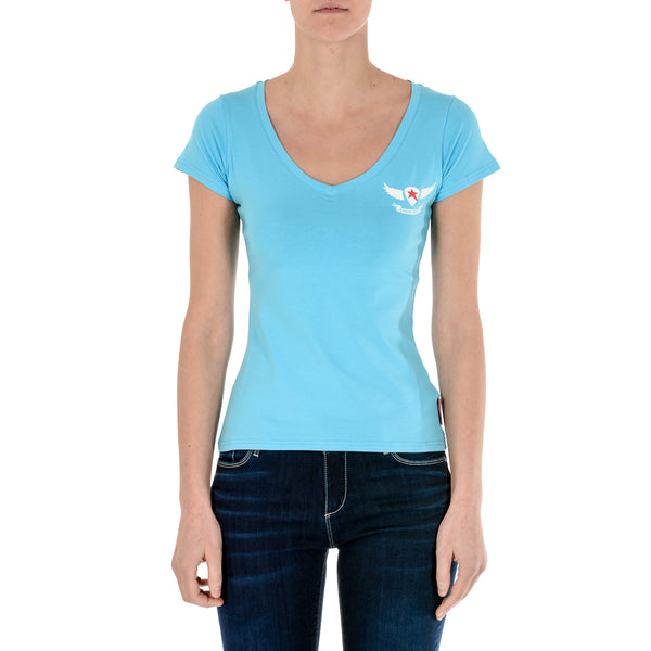 Andrew Charles Womens T-Shirt Short Sleeves V-Neck Light Blue TAPIWA