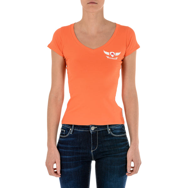 Andrew Charles Womens T-Shirt Short Sleeves V-Neck Orange TAPIWA