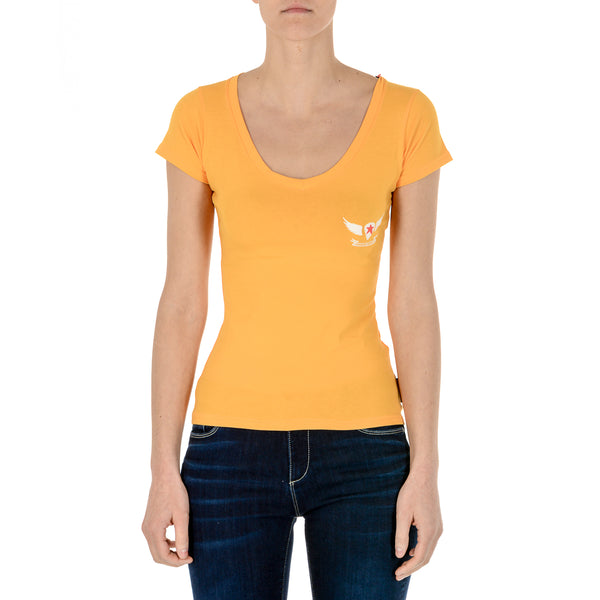 Andrew Charles Womens T-Shirt Short Sleeves V-Neck Yellow TAPIWA