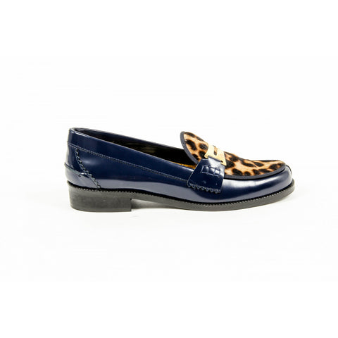 Avec Moderation Womens Loafer FRIDA BLUE LEOPARD