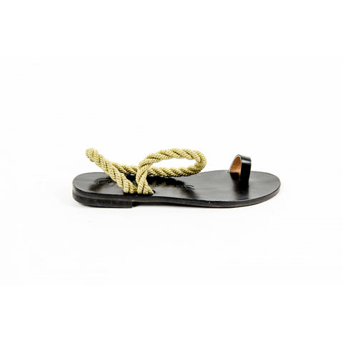 Alvaro Gonzalez Womens Flat Sandal ANGELA METALLIC ROPE BLACK GOLD