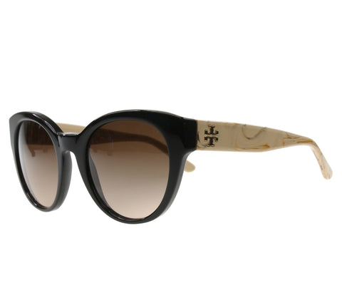 Tory Burch Sunglasses TY7080 / Frame: Ivory/Beechwood Lens: Dark Brown Gradient