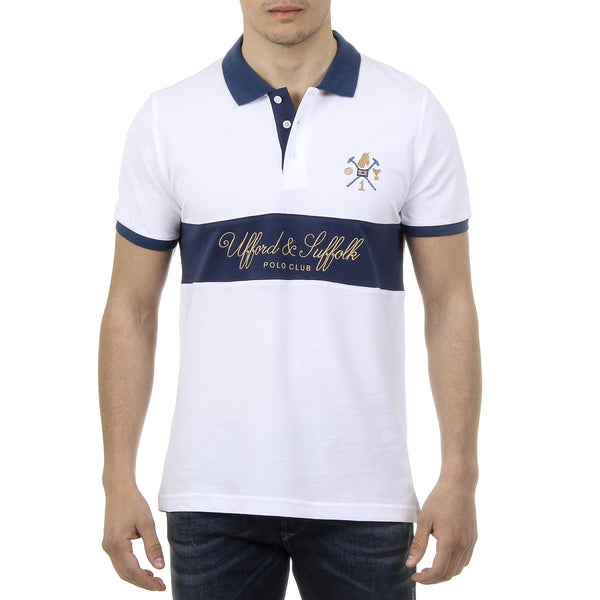 Ufford & Suffolk Polo Club Mens Polo Short Sleeves US002 WHITE