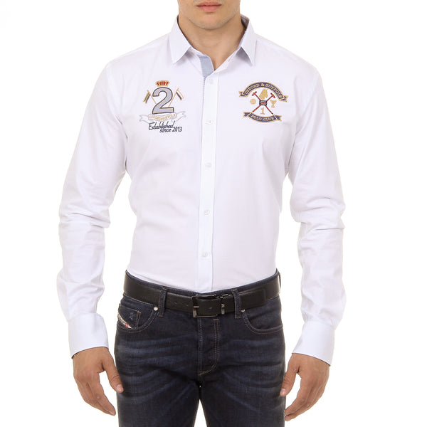 Ufford & Suffolk Polo Club Mens Shirt Long Sleeves US010 WHITE