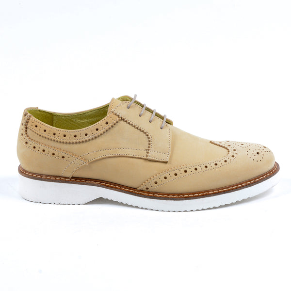 V 1969 Italia Mens Brogue Oxford Shoe Beige PEDRO