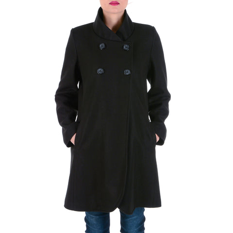 V 1969 Italia Womens Coat Long Sleeves Black CHEYENNE