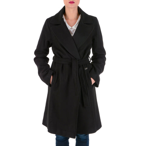 V 1969 Italia Womens Coat Long Sleeves Black JENNY