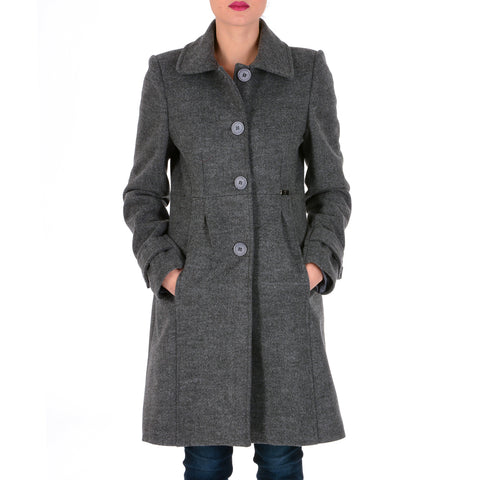 V 1969 Italia Womens Coat Long Sleeves Dark Grey GAU